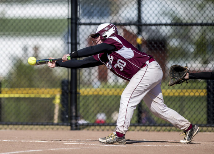 OBSERVER Photo by Ron Szot Dunkirk's Monica Pokoj lays down a bunt during Dunkirk's game against the Maple Grove Lady Red Dragons.