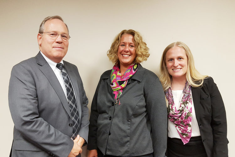 OBSERVER Photo by Nicole Gugino Dunkirk Superintendent Dr. James Tracy (left) welcomes newly appointed Assistant Superintendent Theresa Gray (center) and Guidance Counselor Sara A. Gustafson to the district.
