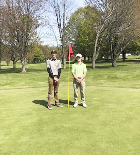 Submitted Photo Pictured from left are co-medalists Lewis Markham and Kole Maytum, who competed in Wednesday's CCAA Division 2 West Sectional qualifier.