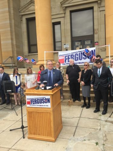 County executive candidate Mike Ferguson makes his announcement this afternoon in Mayville.