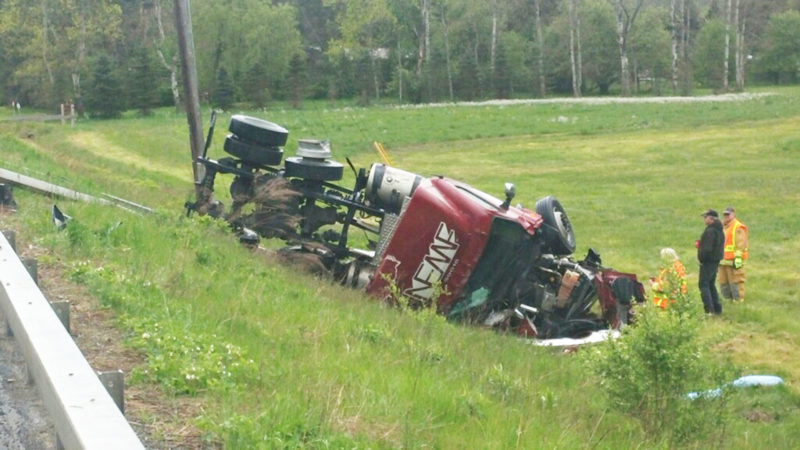 Photo submitted by New York State Police Route 60 was closed on Thursday morning from Route 380 to Sinclair Drive due to a tractor-trailer rollover around 5:45 a.m. The highway was re-opened shortly after 10 a.m.