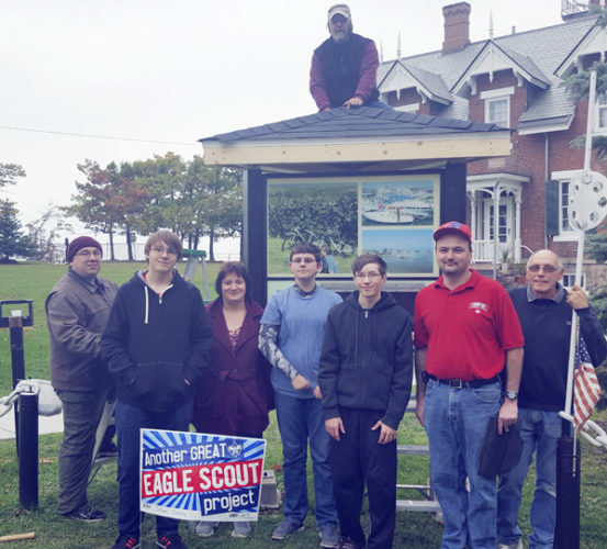 Submitted Photo Pictured in the photo at left are  participants in Eagle Scout Jordan Cooley's project. Top: Jeff Wentz. Left to right – Roger Cooley, Jr., Jordan Cooley, Amanda Burlett-Cooley, Brandon Powell, JJ Tuggy, Vince Vecchio, Dave Briska.