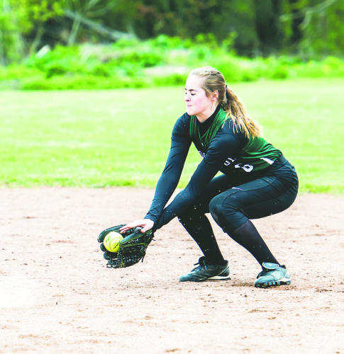 OBSERVER Photo by Ron Szot: Brocton's Elyse Markham fields a groundball during Friday's CCAA West 2 high school softball game against Westfield.