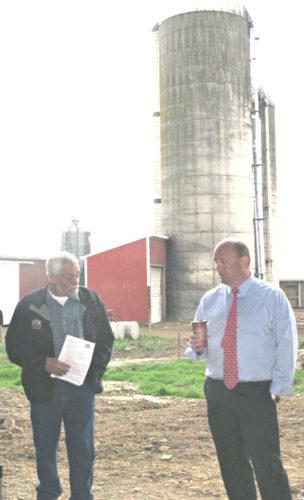 Photo by Dennis Phillips Dick Kimball, left, New York Farm Bureau District 1 director and Chautauqua County Farm Bureau president, and U.S. Rep. Tom Reed, R-Corning, at Gustafson Farms located along Falconer-Frewsburg Road.