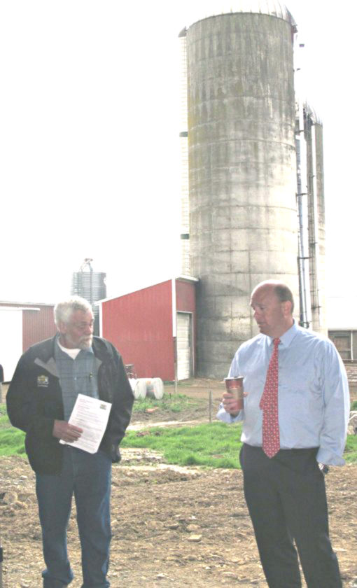 Photo by Dennis Phillips Dick Kimball, left, New York Farm Bureau District 1 director and Chautauqua County Farm Bureau president, and U.S. Rep. Tom Reed, R-Corning, at Gustafson Farms located along Falconer-Frewsburg Road.