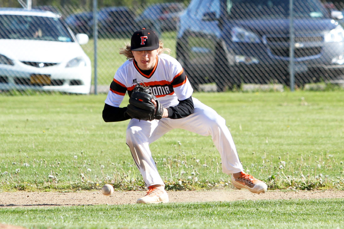 OBSERVER Photo by Lisa Monacelli Fredonia's Lucas Voss fields a groundball during Fredonia's CCAA West 1 baseball game against the Silver Creek Black Knights, in Silver Creek, on Monday.