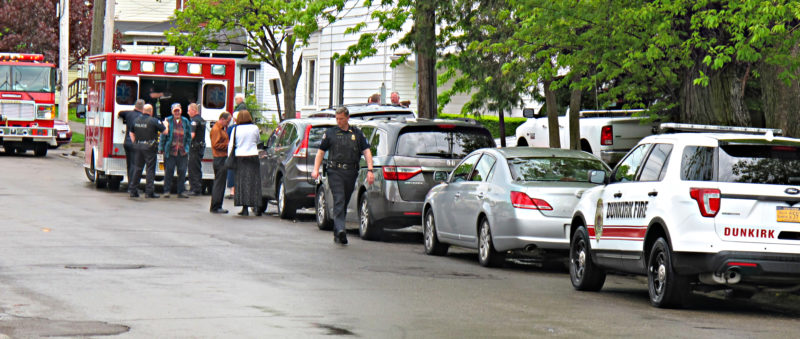 OBSERVER Photo by Rebecca Cuthbert At about 2 p.m. Tuesday, emergency personnel responded to the report of a bicyclist-vehicle collision near the intersection of Second and Zebra streets. According to Dunkirk Police, a bicyclist had tried to pass a car parked along the side of the street. The occupant of that car did not realize a bicyclist was approaching, and opened the door, at which time the bicyclist ran into it. Dunkirk Fire Department and EMS assessed the bicyclist for injuries at the scene, but all parties deemed a trip to the hospital unnecessary.