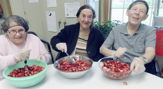 Submitted Photo: From left: Carole Meadows, Rosella Potkovick and Roy Homokay were among the participants when the Dunkirk Adult Day Care Center celebrated Mother's Day recently.