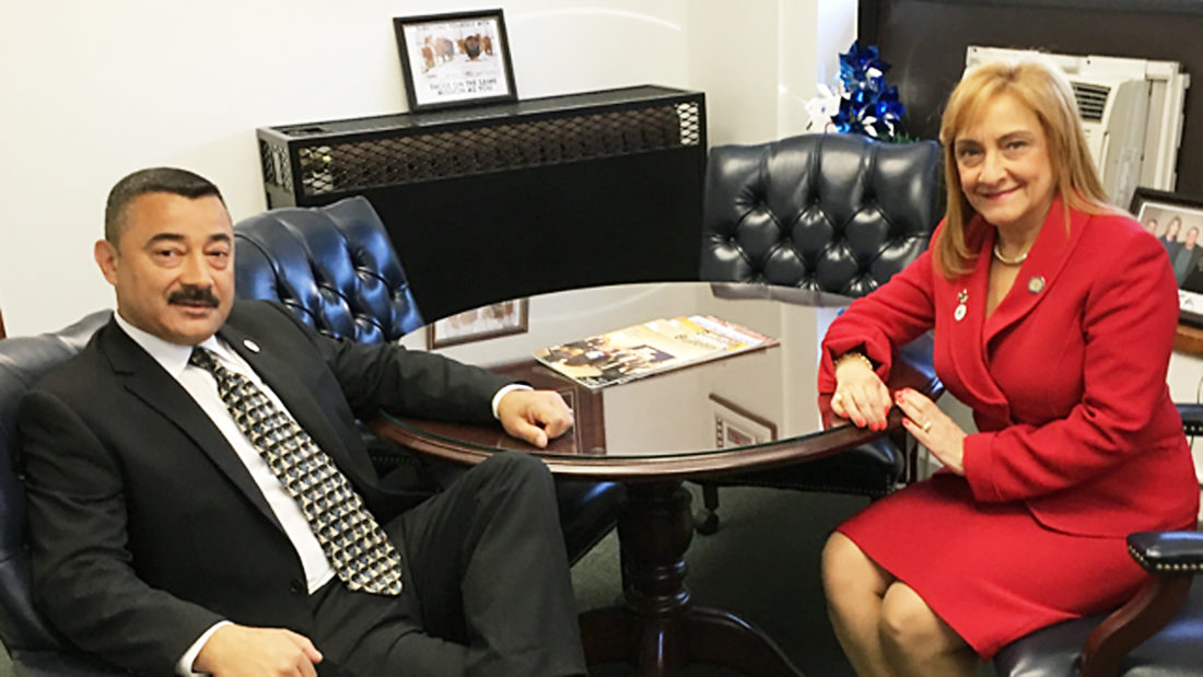 Submitted Photo. Dunkirk Mayor Willie Rosas sits down with Office of Alcohol and Substance Abuse Services Commissioner Arlene Gonzales-Sanchez to discuss the opioid epidemic.