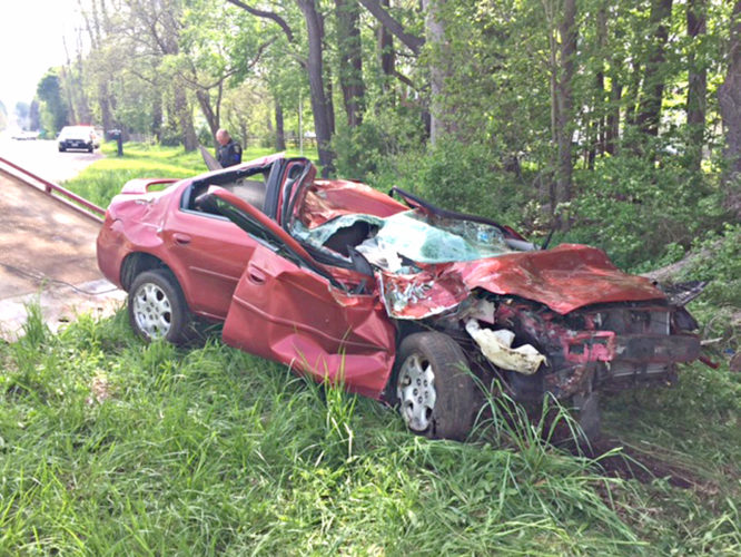 Submitted Photo by the Chautauqua County Sheriff's Office. On Thursday, a man who fell asleep at the wheel was lucky to wake up — even if he found himself upside down, suspended by his seatbelt. The Chautauqua County Sheriff's Office reported that Brice Little, 29, of Mayville, fell asleep while driving on East Lake Road in the town of Chautauqua at about 3 p.m. Allegedly, his vehicle left the north shoulder of the roadway and entered a field. The vehicle then proceeded westbound through the field, where it struck a group of trees, overturned and came to rest. Little was treated at the scene by Hartfield and Mayville first responders before being airlifted by Starflight to UPMC Hamot for observation of non-life threatening injuries. This incident serves as a reminder to wake up and buckle up before getting behind the wheel.