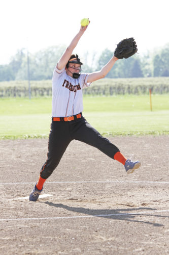 No. 2 Fredonia's Hannah Cybart delivers a pitch during the Lady Hillbillies' Section VI Class B2 softball playoff victory over No. 10 Wilson.