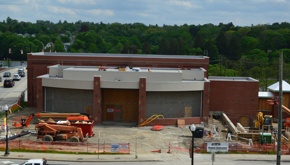 Work continues on the National Comedy Center in Jamestown at Washington and Second streets.