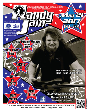 RandyJam2017 takes place on Sunday at the American Legion in Celoron on Jackson Avenue.