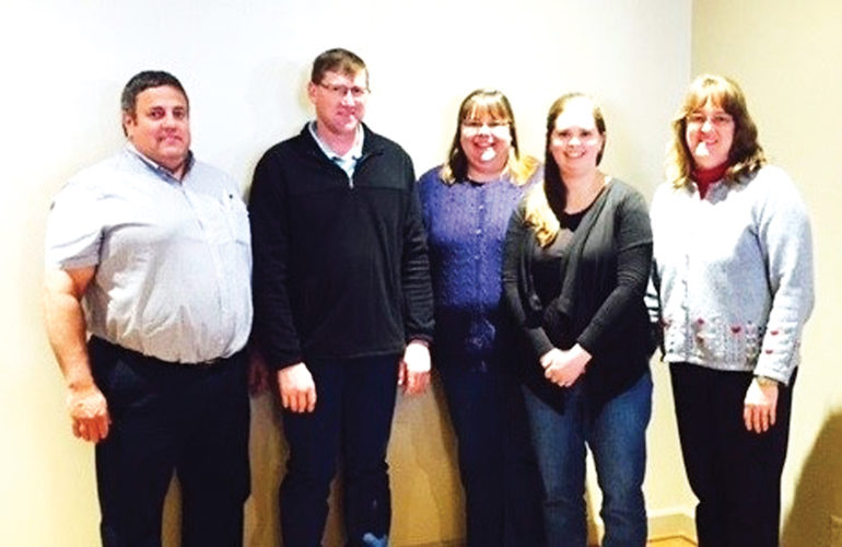 Submitted Photo Pictured are 2016-2017 Academy for Dairy Executives participants. They are, from left, Jason Karszes, Cornell Pro-Dairy Farm Management Specialist; Dan and Anna Crowell, owners/managers of R&D Crowell Farms, LLC; Julia Olmstead, owner/manager of Mid-Knight Dairy, LLC; and Lisa Kempisty, Dairy Educator, Cornell Cooperative Extension of Chautauqua County.