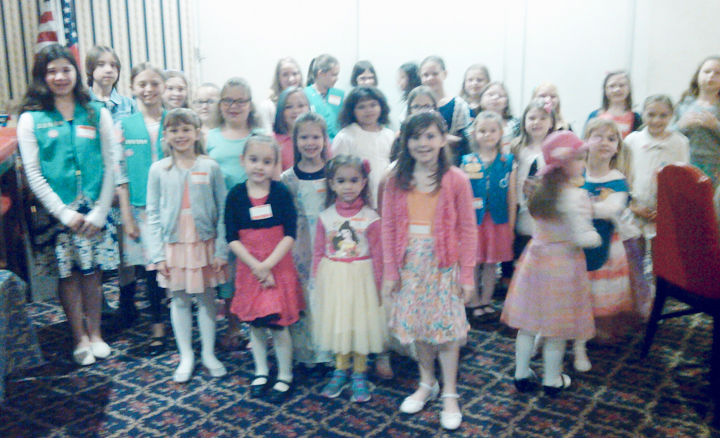 Submitted Photo Pictured are attendees at a recent Chadwick Bay Girl Scouts tea party held at the Dunkirk Moose Lodge.