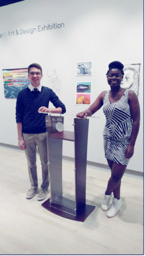 Submitted Photo Pictured from left are Dunkirk High School students Christopher Michalski and Emily-Jane Berakah. Berakah took first and Michalski second place in the  fifth annual College Connections student speech contest held at Jamestown Community College's Jamestown Campus.