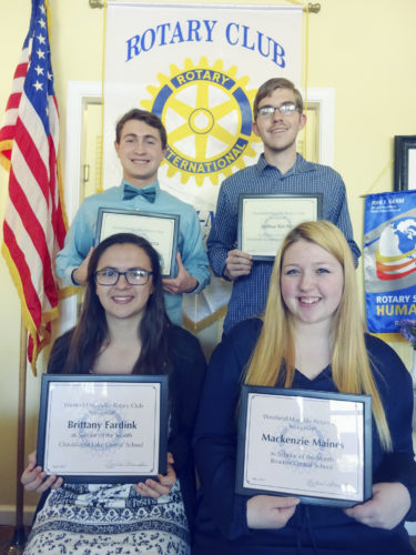 "Submitted Photo Four high school seniors were honored as ""Scholars of the Month"" by the Rotary Club of Westfield-Mayville during its May 16 meeting at The Parkview in Westfield. Receiving this recognition were (seated, left to right) Brittany Fardink of Chautauqua Lake Central School, Mackenzie Maines of Brocton Central School, (standing, left to right) Joel Vinciguerra of Chautauqua Lake Central School and Joshua Kitchen of Westfield Academy and Central School."