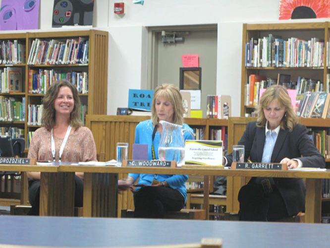 OBSERVER Photo by Amanda Dedie Forestville Board of Education Vice President Amy Drozdziel, President Carol Woodward, and Superintendent Renee Garrett shared their excitement regarding the pending Silver Creek-Hanover-Forestville youth recreation program with the rest of the board at the May Board of Education meeting.
