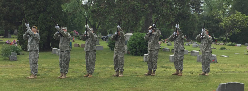 Submitted Photo Military members give off a symbolic gun salute at the Westfield Memorial Day service.