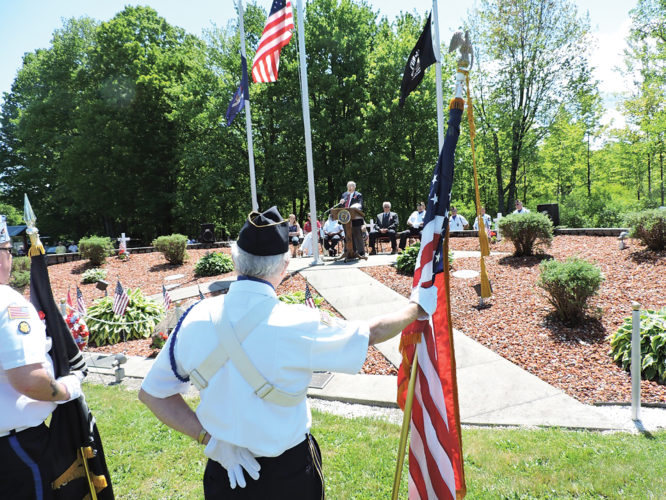 Submitted Photo Dr. Jim Holton was the guest speaker at the Cassadaga Memorial Day Ceremony at the Cassadaga Ceremony, speaking about the past, present and future of the patriotism of Cassadaga.