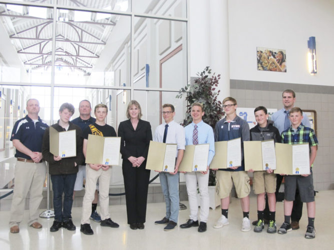 Photo Remington Whitcomb Members of the Chautauqua Lake/Panama/Westfield varsity wrestling team are presented with legislative recognition from Sen. Catharine Young for earning the 2015-16 Joe Annarella Team Sportsmanship Award.