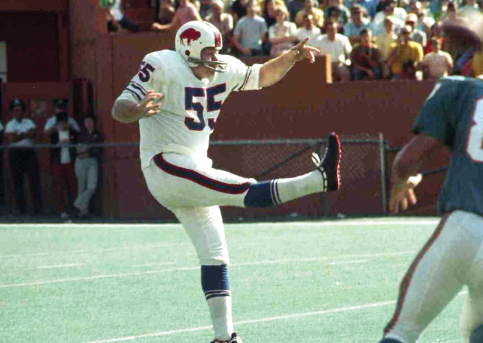 SubmittedPhoto Paul Maguire (55) is seen booting a punt for the Buffalo Bills back when the sports franchise played in the American Football League.