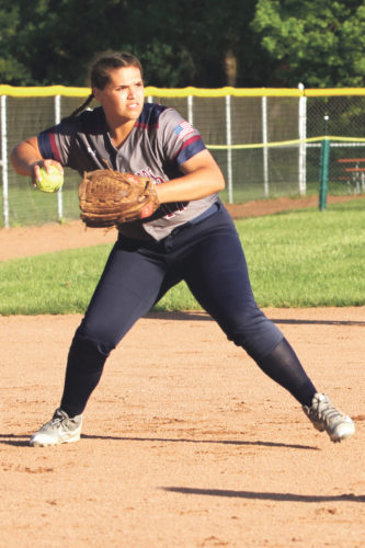 OBSERVERphoto by Lisa Monacelli Chautauqua Lake third baseman Cianna Braymiller, fields a ball in the Lady Thunderbirds' 2-1 loss against Portville, Tuesday.