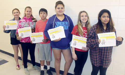 Submitted Photo  Above: Silver Creek middle-schoolers Kassidy Herspold, Ryleigh Lawton, Jackson Williams, Sincere Becker, Alivia Penman, and Myah Como are Knights of the Month for March. Below: Silver Creek middle-schoolers Jessica Didas, Kylie Procknal, Shandon Monroy, Roger Williams, Lacee Watkins, and Jessica Pulver are Knights of the Month for April.