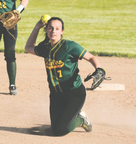 OBSERVER Photo by Justin Goetz North Collins' Angela Filkov comes up throwing after snagging a ground ball during Saturday's Far West Regional softball game at Prommenschenkel Stadium.