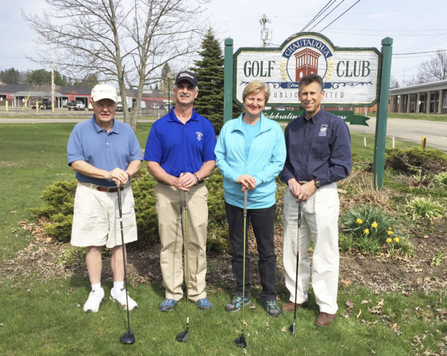 Submitted Photo: The CWC will be the beneficiary of the Chautauqua Golf Club's 31st Annual PGA Pro-Am Golf Tournament.  Pictured from left are event chairman Bill Locke, PGA Professional Troy Moss, CWC Board Director Dr. Jeanne Wiebenga and CWC Executive Director John Jablonski III.