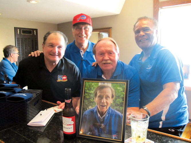OBSERVERPhoto by Jared Hill Pictured here are Buffalo Bills alumni, all present for the Shorewood Country Club's 9th annual Van Miller Hometown Hero Scholarship Fund Golf Tournament. From left is former Bills' WR/KR Lou Piccone, former QB/WR Ed Rutkowski, LB/K Paul Maguire and CB Booker Edgerson.