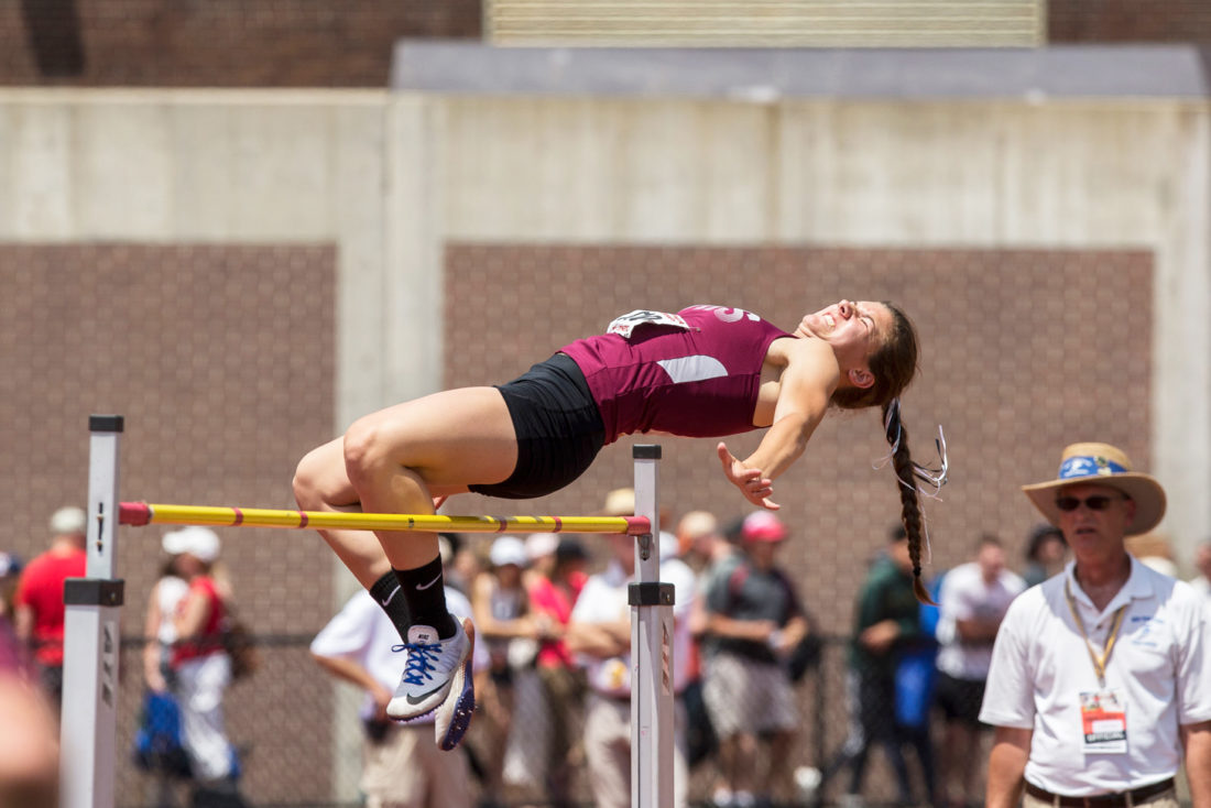 Photo by Tim Frank Pictured is Dunkirk's Emilee Hanlon clearing the bar during Saturday's New York State Public High School Athletic Association Track and Field Championships at Union-Endicott High School. Hanlon took first place in the high jump for Division II. See page C1 for the full story.