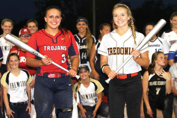 OBSERVERPhoto by Lisa Monacelli Southwestern Lady Trojan, Sydney Burk, left, holds the MVP award for the East. Fredonia's McKenna Leid, right, holds the silver bat as the West's MVP.