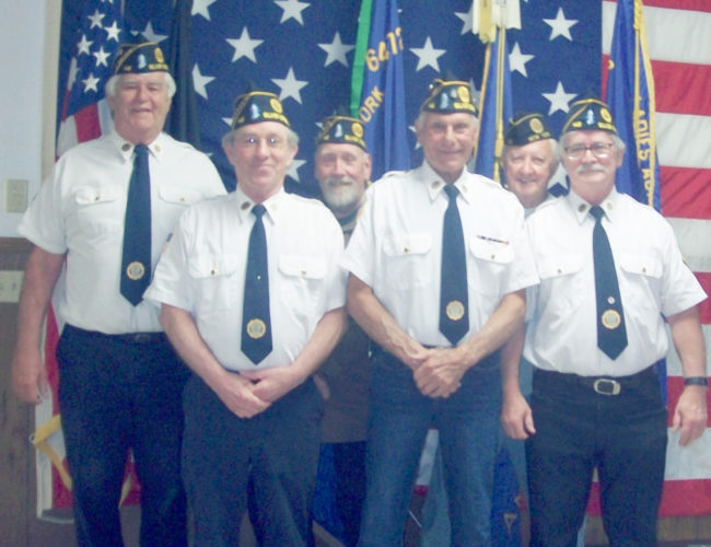 Submitted Photo Silver Creek's American Legion Hanover Memorial Post 148 held installation of officer on June 7. Officers from left to right are Treasurer John Leatherbarrow, Secretary Tom Erdley, 1st Vice Commander Don Richards, Commander Wayne Hartinger, Chaplain Robert Tumulski and Adjutant Leroy Herbstritt. Missing from picture are Sgt. of Arms Richard Henry and Service Officer Jim Eiden.