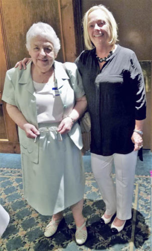 Submitted Photo Mary Powers (left) has led the Chautauqua County Outreach program since its inception. Also pictured is Eileen Nowak, director of Catholic Charities' Department of Parish Outreach and Advocacy.