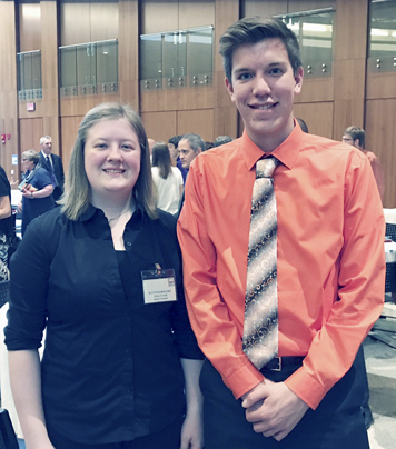 Submitted Photo Salutatorian Hannah Boothe and valedictorian Brandon Birner at the Honors Night and Annual Meeting of the Chautauqua County School Boards Association held in the Williams Center at the State University of New York at Fredonia.