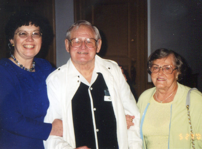 Sheila Lawrence, left, stands with John and Irma Schilling, who she met while living in Youngstown, Ohio.