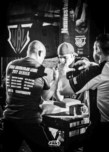 Photo courtesy of World Armwrestling League Pictured at the table, on right, is Dunkirk's Adam Wilmot getting ready to do battle against Dan Bellefeuille, who he would beat to win the World Armwrestling League's Chicago Qualifier in May of this year. The win earned him a spot in the WAL Championships, which were to be held in Las Vegas on June 29.