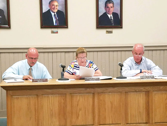 OBSERVERPhoto by Greg Fox The Fredonia Village Board approved serial bond resolutions for large projects involving upgrades and improvements at the wastewater and water treatment plants during a recent meeting. Pictured, from left: Trustees Douglas Essek and Phyllis Jones and Village Administrator Richard St. George.