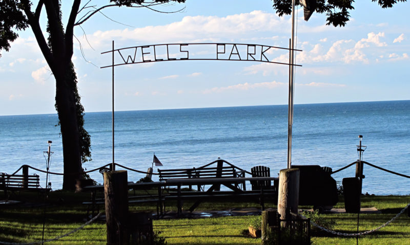 """OBSERVER Photo by Rebecca Cuthbert This allegedly illegal sign, proclaiming """"Wells Park,"""" has been installed by a resident at the end of a paper road in the village of Silver Creek."""