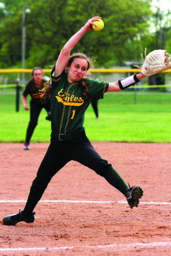 OBSERVER File Photo: North Collins' Rebecca Cyrek winds up from the circle during a softball game this past spring. Cyrek and company made it all the way to the NYSPHAA Final Four in a historic season for North Collins' softball.