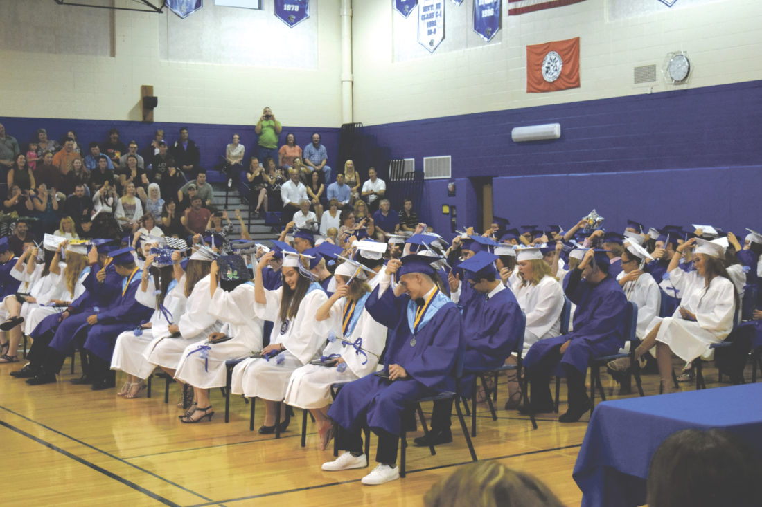 The Gowanda Central School Class of 2017 turn their tassels as they now become graduates of Gowanda.