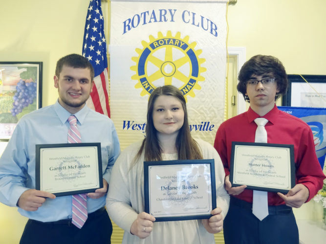 Submitted Photo The Rotary Club of Westfield-Mayville Scholars of the Month for June are pictured and include: Garrett McFadden of Brocton Central School (left), Delaney Brooks of Chautauqua Lake Central School, and Hunter Howes of Westfield Academy and Central School