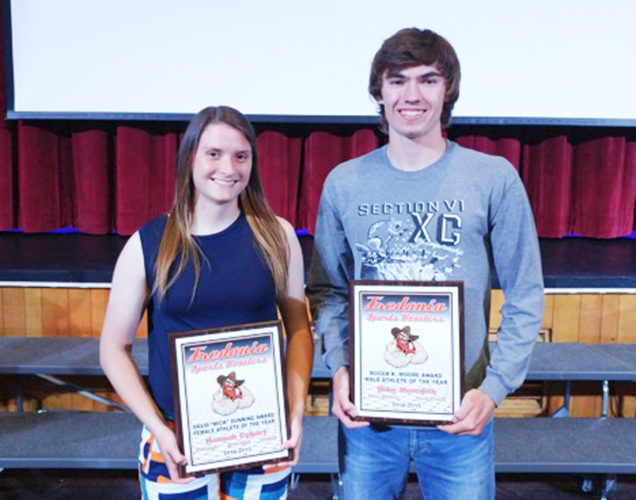 "Submitted Photo Pictured are the winners of Fredonia High School's 2017 Athletes of the Year. At left is the David ""Mick"" Dunning Female Athlete of the Year Award winner, Hannah Cybart. At right is the Roger K. Moore Male Athlete of the Year Award winner, Michael Meredith."