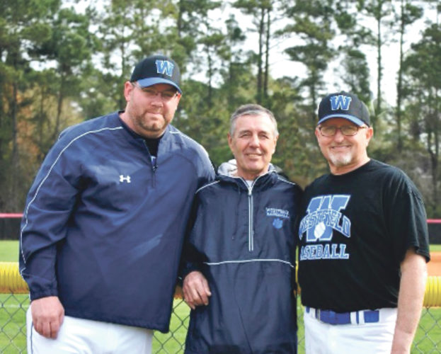 Submitted Photo Doug Kaltenbach, left, is retiring after 30 years of coaching the Westfield Wolverines. Pictured with Kaltenbach are assistant coaches Dan Martin, left and Don Mansfield, center.