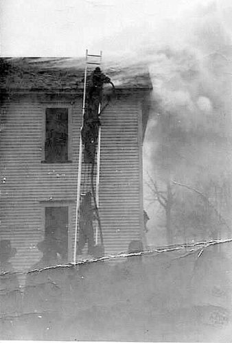 This photo, courtesy of Virginia Becker, shows the building on fire. Becker's letter brings additional information to the June 4 article published in the OBSERVER.