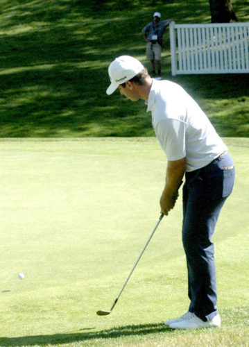 File Photo Rick Lamb chips on the 18th hole of the final round of the 2016 LECOM Health Challenge at Peek'n Peak Resort. Lamb won last year's Monday Qualifier and went on to win the LECOM Health Challenge, which springboarded him onto the PGA Tour.