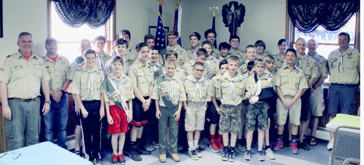 Submitted Photo Pictured are members and leaders of Boy Scout Troop 267 which meets Mondays at 7 p.m. at American Legion Memorial Post 59 in Fredonia.