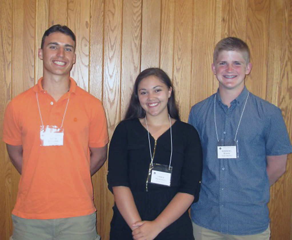 Submitted Photo Outstanding chemistry students were recognized at the Penn-York Section of the American Chemical Society's recent Awards Night. Chautauqua County students at the event were (from left) Seth Schrader, Fredonia Central School; Janie Swanson, Falconer Central School; and Ezekiel Olson, Maple Grove Central School.