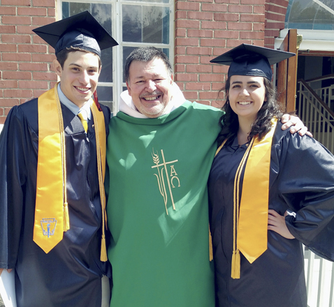 Submitted Photo: Each year St. Anthony's Parish in Fredonia honors graduating seniors by awarding the Erica O'Donoughue and Rev. Daniel P. Walsh Spiritual Scholarship. This is given to a senior or seniors who have been confirmed, are active members of the parish and will be attending college in the fall. The students submit an essay based on describing their faith and what it means to them. The scholarship is given at the graduates' Mass, which was on Sunday, June 25 this year by Father Joseph A. Walter. This year the award was given to two seniors whose essays equally met the spirit of the award. The recipients are Anna Gullo and Kevin Siracuse. Both are Fredonia High School graduates. Gullo will be attending Canisius College in the fall, majoring in psychology. Siracuse will be attending SUNY Fredonia and will be majoring in journalism. Pictured are Siracuse, Father Joseph Walter and Gullo.